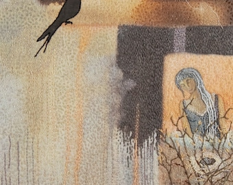 Watching Over...Hand Stitched Thread Painting. Figurative Landscape.