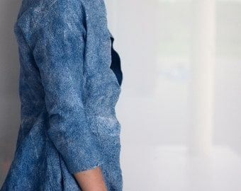 Nuno felted modern shape jacket from wool and silk in natural indigo ooak
