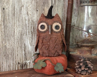 Primitive Halloween PDF Pattern, Halloween Owl and Pumpkin, Primitive Halloween, Ollie Owl and Pumpkin Pattern, Folk Art Pattern