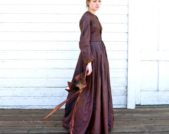 Antique 1850s Victorian Ladies Dress XS