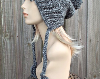Licorice Black Grey Hat Grey Ear Flap Hat Grey Slouchy Beanie - Charlotte - Grey Slouchy Hat Womens Hat Grey Winter Hat