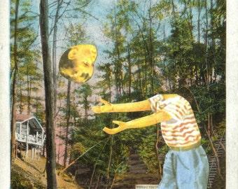 Creepy Kid, Peculiar Child, Unique Gift, Small Artwork, Kooky Little Boy, Original Collage Art, Strange Gift for Weirdo, Summer Vacation