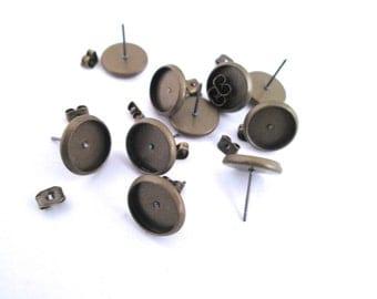 12mm Bezel Stud Earrings, Brass Plated, Pick Your Amount, C165
