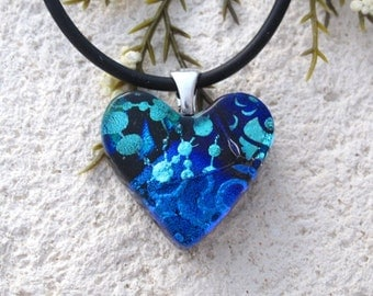 Small Blue Necklace, Dichroic Heart Necklace, Fused Glass Jewelry, Dichroic Jewelry, Blue Necklace, Silver Chain, Blue Pendant, 101616p102