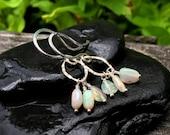 Genuine Opal Gemstone Sterling Silver Earrings, Cluster Dangle, Fiery Welo Opal Nuggets, October Birthstone, Handmade Jewelry, Bright Fire
