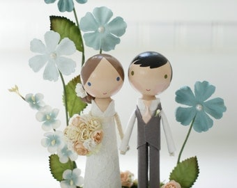 custom wedding cake topper - whimsy garden