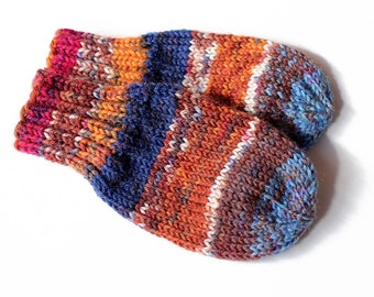 Baby Mittens. Cordless Baby Boy Mitts No Thumbs. Infant Hand Warmers. Striped Wool Winter Mittens Without String. Baby Boy Mittens