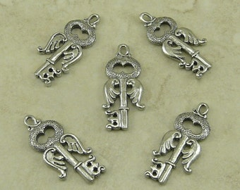 5 Flying Key Charms > Harry Potter Chamber Secrets Snitch Wings Alohomora - Raw Lead Free Pewter Silver American Made I ship Internationally