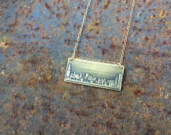 Chicago Illinois skyline necklace | Chicago skyline pendant | etched copper pendant | handmade gift | jewelry for her