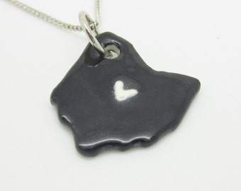 Black Ohio Columbus Heart Necklace Glazed Ceramic on an 18 inch Silver Chain