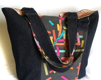 washi tape in dark wash denim eco tote, handmade eco-friendly market shoulder bag, large upcycled jeans handbag