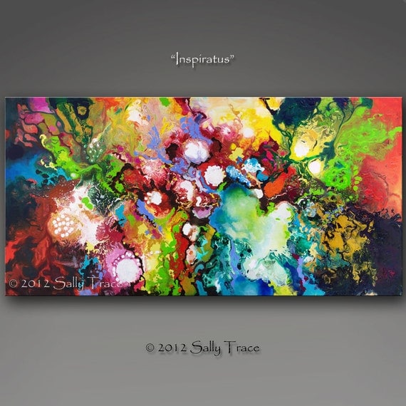 Giclee print on canvas from my original abstract painting Inspiratus, spiritual art, inspirational art, spiritual painting, 24x48