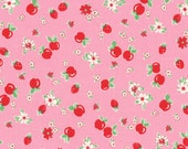 HALF YARD - Red Strawberries & Apples on PINK 31282-20 - Retro 30s Child Smile Collection Lecien - Cherries, Red Cherry, Flower