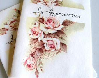 Vintage In Appreciation Note Cards with Roses and Message Inside