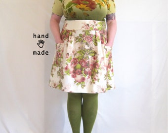 Flatterer Skirt -- pink floral bird print -- plus size, size 22, 2X, xxl -- high waist -- handmade in vintage fabric -- 42W-60H