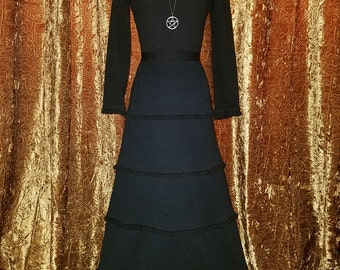 20% OFF Vintage 1960's Black Witchy Maxi Dress, Johnathan Logan XS Small