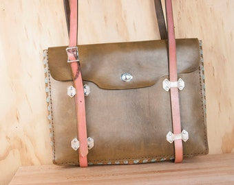 Handmade Leather Laptop Bag - Petal pattern in pink, turquoise and antique brown - Briefcase Style Leather Tote
