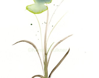 "Original watercolor painting of light green abstract flower: ""Green Field Flower"""