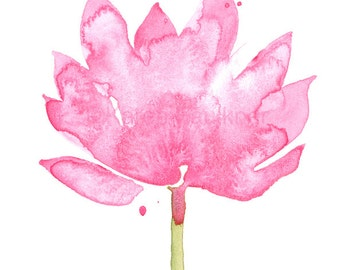 "Watercolor flower art print: ""Pink Lotus"""