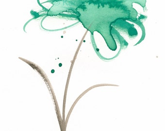 "Original watercolor painting of an abstract flower: ""Splashy Green Flower"""