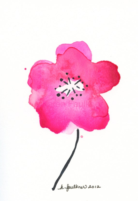 "Watercolor art print of cherry blossom flower: ""Cherry Blossom Pink"""