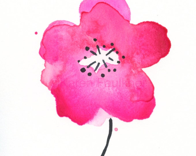 "Watercolor art print of cherry blossom flower: ""Cherry Blossom Pink"""