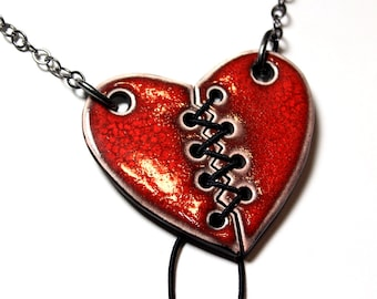 Lace Up Heart Ceramic Necklace with Chain (Slightly wider version)