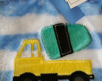 Personalized Blue and White Baby Blanket With A Yellow, Green, and Black Truck Applique