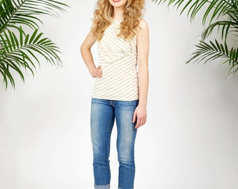 Venice tank top in beige and white bamboo stripes