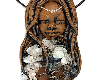 Tree Of Life Goddess Necklace, Clay Tree Of Life Pendant, Clay Rose Quartz Goddess Necklace, Tree Of Life Jewelry, Gemstone Goddess Jewelry