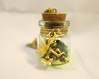 Fairies Glow In The Yellow Garden Necklace Faerie Fay Fae Fairy Realm Fantasy Mystical Mermaid Simple Magical Bottle Hand Painted