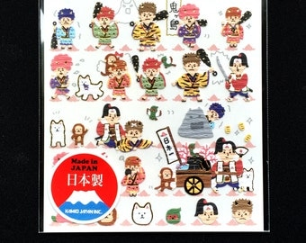 Japanese Stickers - Momotaro the Peach Boy - Traditional Japanese Stickers - Washi Paper Stickers S164