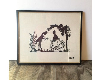 1939 Vintage Silhouette Couple  - Cross Stitch Silhouette