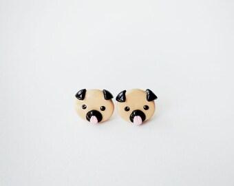 Cute Little Pug Face Stud Earrings