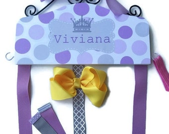 Hair Bow Holder Lavender Gray Polka Dots with Princess Crown - Personalized HAIR BOW HOLDER Organizer hairbow Headband Holder hooks