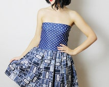 Blue STAR WARS Dress, Handmade Star Wars Dress , Strapless Star Wars Handmade Dress , Star Wars Clothing