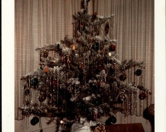 vintage photo Christmas XMAS tree Gifts Color Snapshot