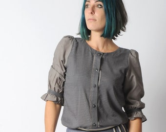 Grey womens shirt with ruffled sleeves, checks and dots, Womens clothing, Grey summer shirt