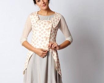 White floral jacket, Pink and white sleeveless swallowtail Jacket, White linen with roses print jacket, sz M