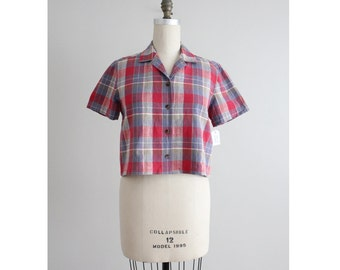 plaid linen crop top / plaid crop top / collared cropped blouse