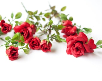 12 Smaller Roses and Rose Foliage in Red -- Silk Flowers, Artificial Flowers, Artificial Roses - ITEM 074