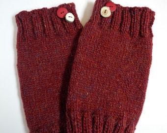 Icelandic Wool Leg Warmers in Red Tweed