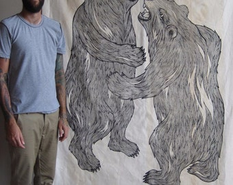 HUGS the gigantic hand screen print