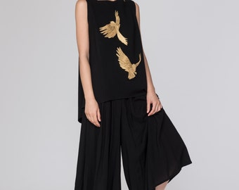 NEW Embroidered Pinafore Simone Top. Black Structured Modern Jumper Dress. Metallic Gold Embroidery Dress. Gold Foil Birds
