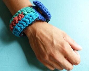 Recycled cotton jersey Crochet bracelet blue greens red