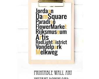 Amsterdam Landmarks City Print Wall Art Printable Typography The Netherlands Digital Download 5x7 8x10 A4 A5