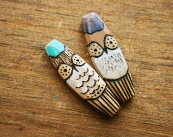 Pair of Owls Wood Burned and Painted