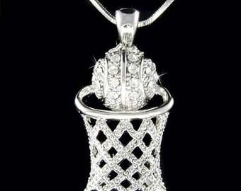 Swarovski Crystal Basketball Hoop Net Sports Pendant Charm Chain Necklace Christmas Gift New