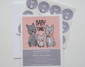 Baby Time French Bulldog Family Baby Shower Invitation Set with Stickers in Pink