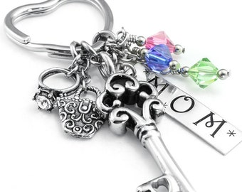 Silver Mom Key Chain - Personalize Mothers Keychain - Birthstone Key Chain - Grandmothers Key Chain